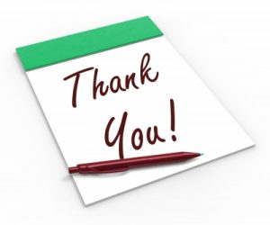 Thank-you note pad and pen